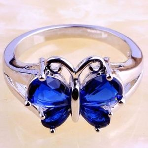 Silver Sapphire Butterfly Cocktail Ring Size 11 CZ